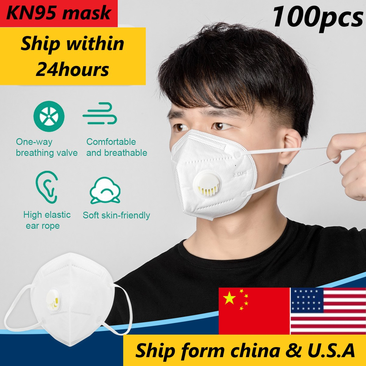 KN95 Mask Dustproof Windproof Respirator Valve PM 2.5 Mask KN95 Mask 95% Filtration Cotton Mouth Mask Disposable Protective Mask