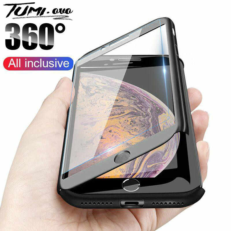 360 Full Cover Phone Case For iPhone 11 7 8 6S 6 Plus 5S 5 SE PC Protective Cases For iPhone 11 Pro Max XR XS X Cover With Glass