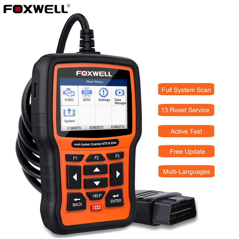 Foxwell NT510 Elite Alle Systeem OBD2 Automotive Scanner Abs Bloeden Dpf Tpms Bms Olie Reset Code Reader Professionele Scan Tool