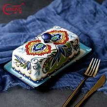 Plato de mantequilla de cerámica Vintage Rectangular pintado a mano plato de mantequilla con cubierta decorativa para servir mantequilla plato titular decoración para el hogar