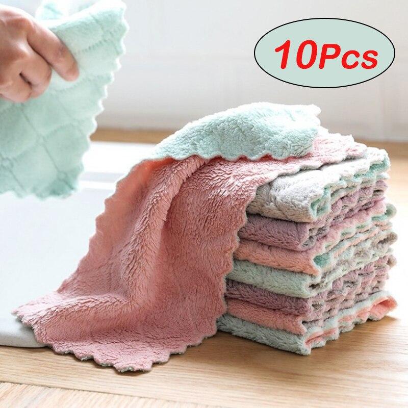5 шт. дешевле двухслойная впитывающая ткань из микрофибры для кухонной посуды антипригарное масло Бытовая Чистящая салфетка для мытья посу...