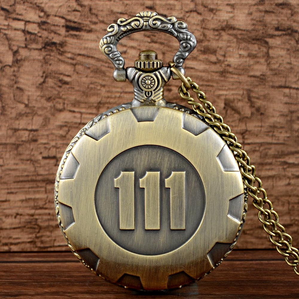 Vintage Fashion Quartz Pocket Watch Bronze Game Fallout 4 Vault 111 Steampunk Women Man Necklace Pendant With Chain