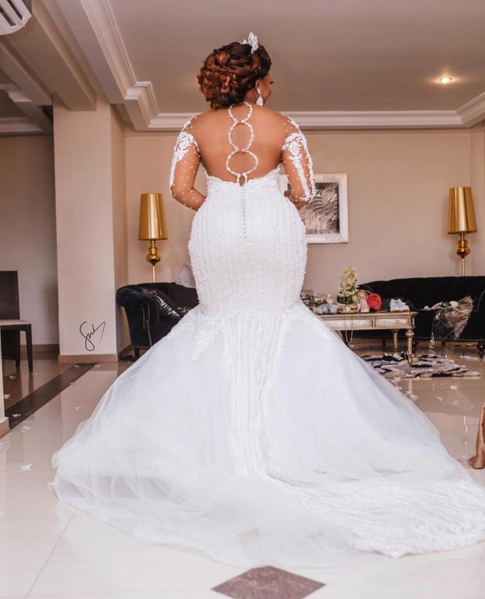 Africano de luxo beading sereia vestido de casamento manga longa apliques pérolas vestidos de casamento plus size preto noiva - 2