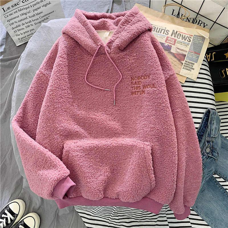 Casaco rosa com capuz estampado feminino, outono inverno casaco feminino harajuku solto de bolso com capuz