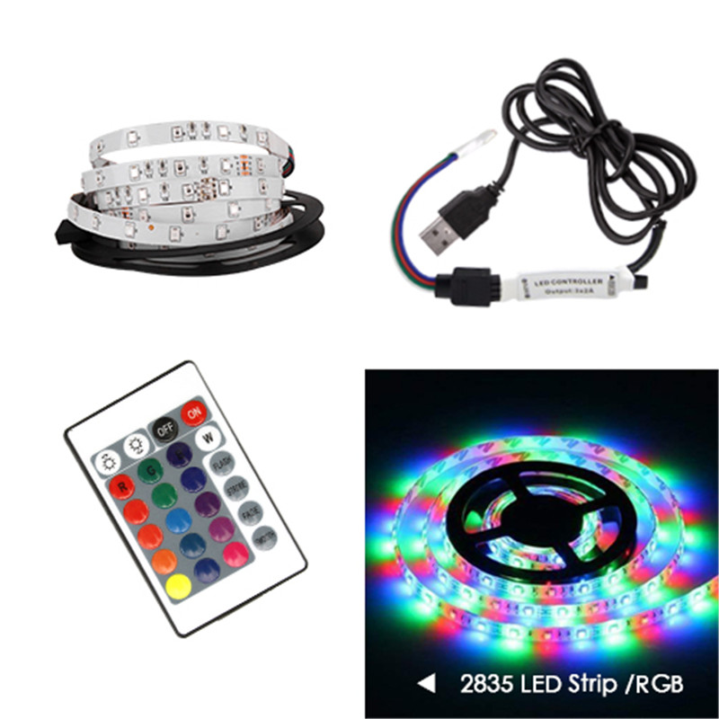 50CM 1M 2M 3M 4M 5M LED TV Light 2835SMD RGB LED Strip Light For Tv HDTV Neon Light Backlight Lamp With 24 Key Remote Control