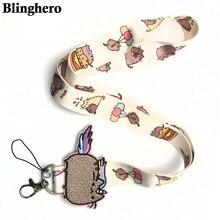 CA698 도매 20 개/몫 귀여운 고양이 키 끈 ID 배지 홀더 동물 휴대 전화 목 스트랩 키 링 1PCS