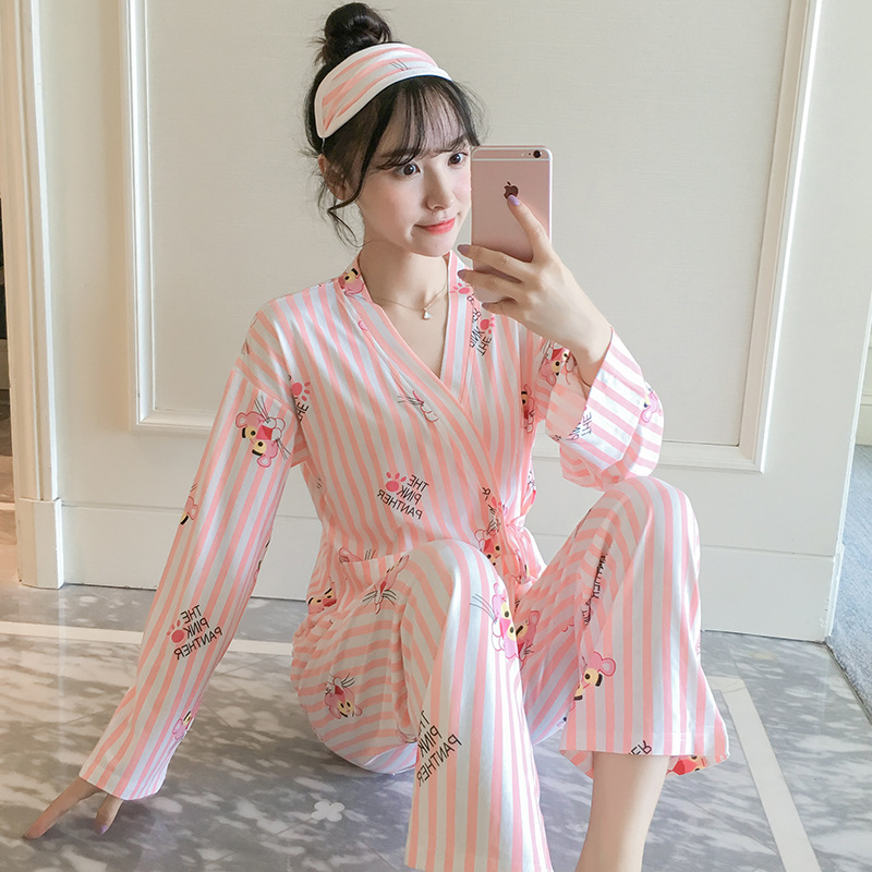 New Style Spring And Autumn Japanese Style Kimono Pajamas Women's Autumn Long Sleeve Qmilch Homewear Set Pink Panther Send Eye P