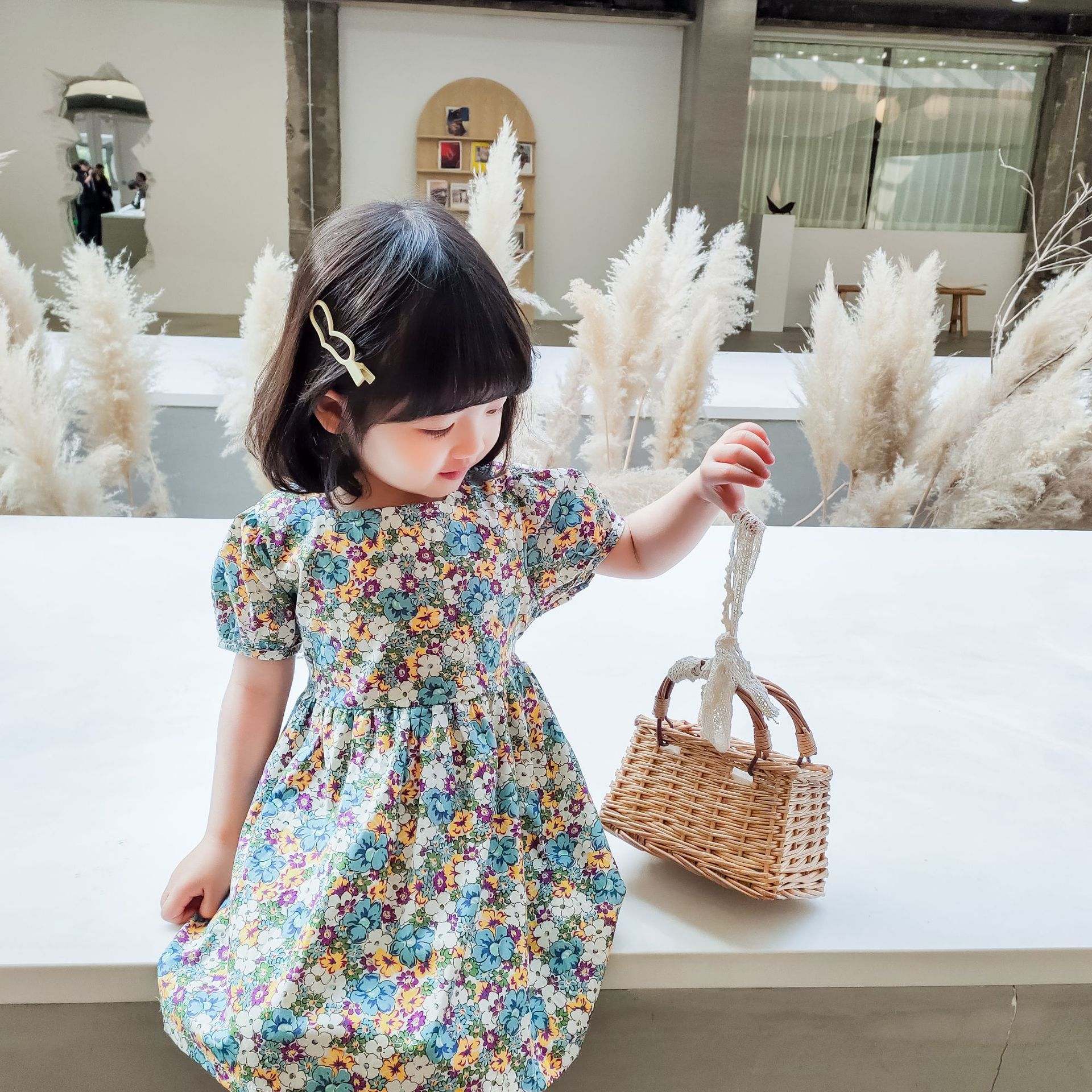 2020 Summer Girls Dress Cotton Casual Ruched Short Print Knee-Length Pastoral Style Fashion Dress