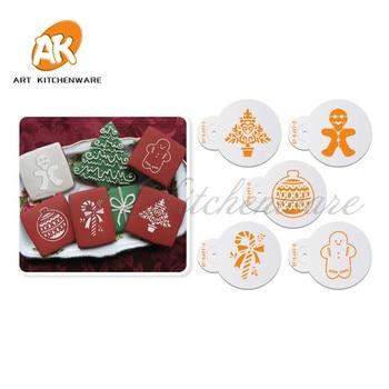5pcs Christmas Tree, Doll, Firework & Christmas Snowman set Set Cookie Stencil Cake Decorating Stencil Cake Tool