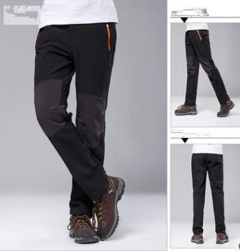 Men And Women Couple Models Outdoor Soft Shell Pants Color Matching Fleece Trousers