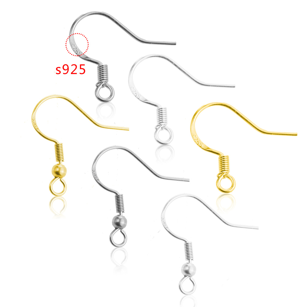 20pcs/lot Carven S925 Silver Stainless Steel Ear Wires Wholesale Earrings Hook For DIY Jewelry Earrings Making Supplies