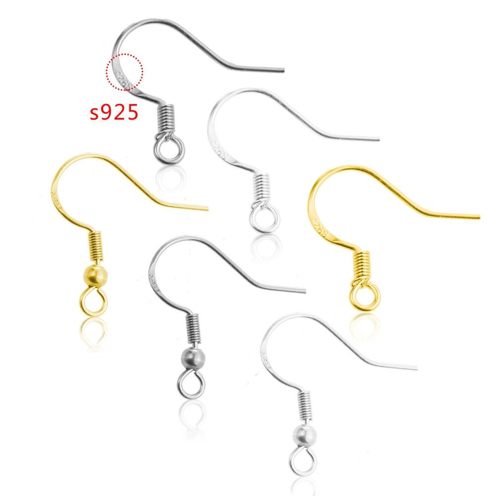20pcs/lot Carven S925 Silver Stainless Steel Ear Wires Wholesale Earrings Hook For DIY Jewelry Earrings Making Supplies