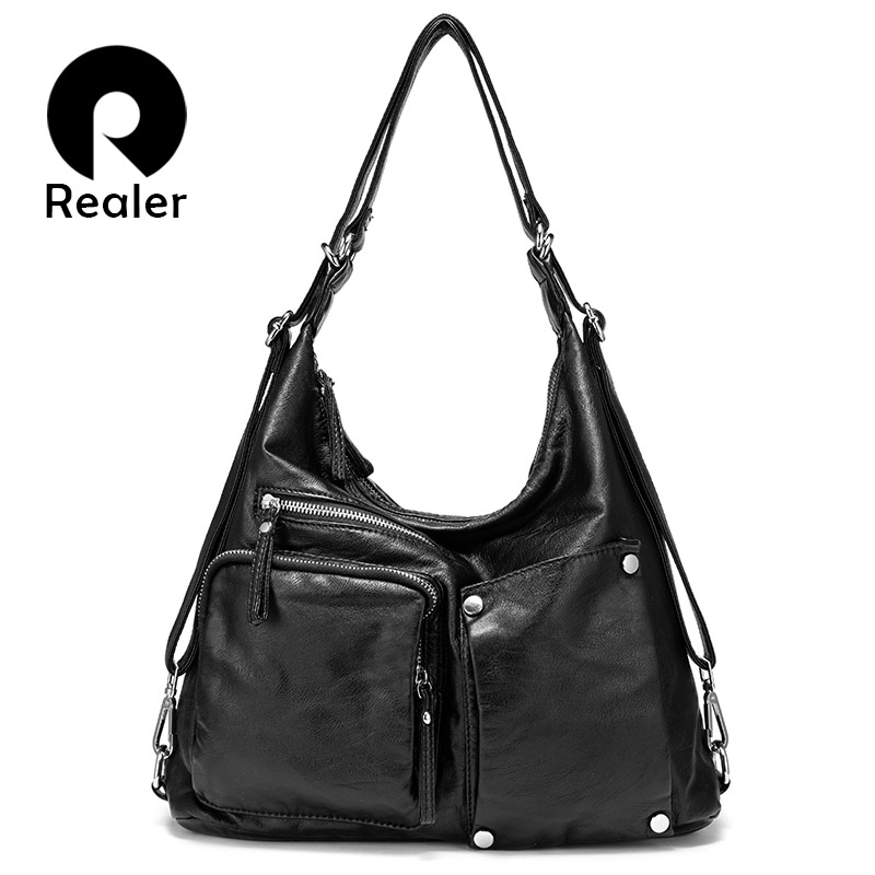 REALER Women Handbag Large Capacity Shoulder Bag High Quality Hobos For Ladies Vintage Back Pack Multifunctional Female Totes