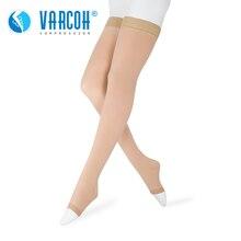 20 30 mmHg العلاج الطبي جوارب ضغط للنساء الرجال الممرضات تخرج دعم الدوالي الحمل مفتوح اصبع القدم