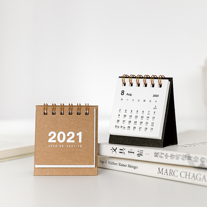2021 Simple solid color mini Desktop Paper simple Calendar dual Daily Scheduler Table Planner Yearly Agenda Organizer 2