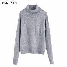 Женский пуловер с высоким воротником вязаный свитер длинным