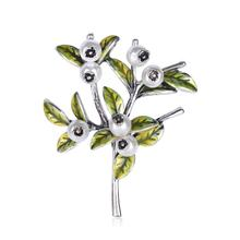 Fashion Women Enamel Leaf Brooches Simulated Pearl Flower Pin Wedding  Brooch Party Dress Coat Jewelry Accessories caizi new blue dragon brooch cute fish animal brooches for women simulated pearl enamel pin wedding jewelry clothes accessories