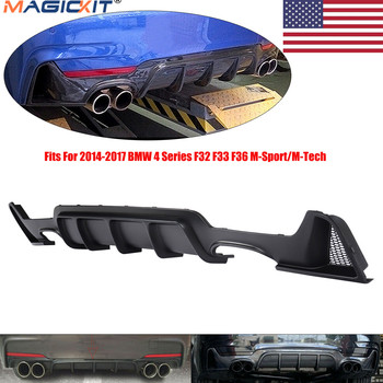 MagicKit US Stock Matte Black Rear Bumper Diffuser For BMW F32 F33 435i M Tech Quad Out 2014-2018 image