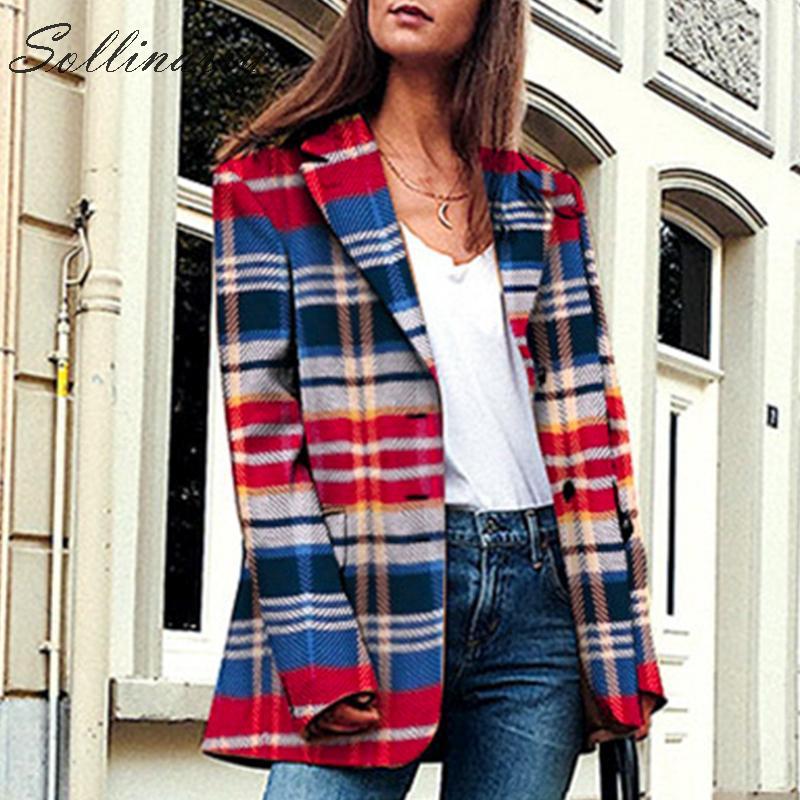 Sollinarry Streetwear Plaid Women Blazer and Jackets Single Brested Autumn Red Blazer Winter Female Casual Jackets Vintage Feme