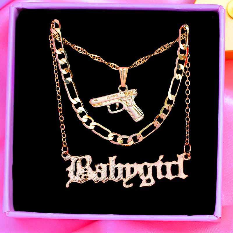 Flatfoosie Punk Hip Hop Pistol Submachine Pendant Necklace for Women Men Gold Color Metal Long Chain Necklace Fashion Jewelry