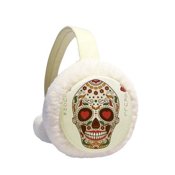 Flower Cirrus Eyes White Sugar Skull Winter Earmuffs Ear Warmers Faux Fur Foldable Plush Outdoor Gift