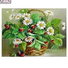 MOONCRESIN 5D DIY Diamond Embroidery White daisy Painting Cross Stitch Full Square Drill Rhinestone Mosaic Decoration Flowers стоимость