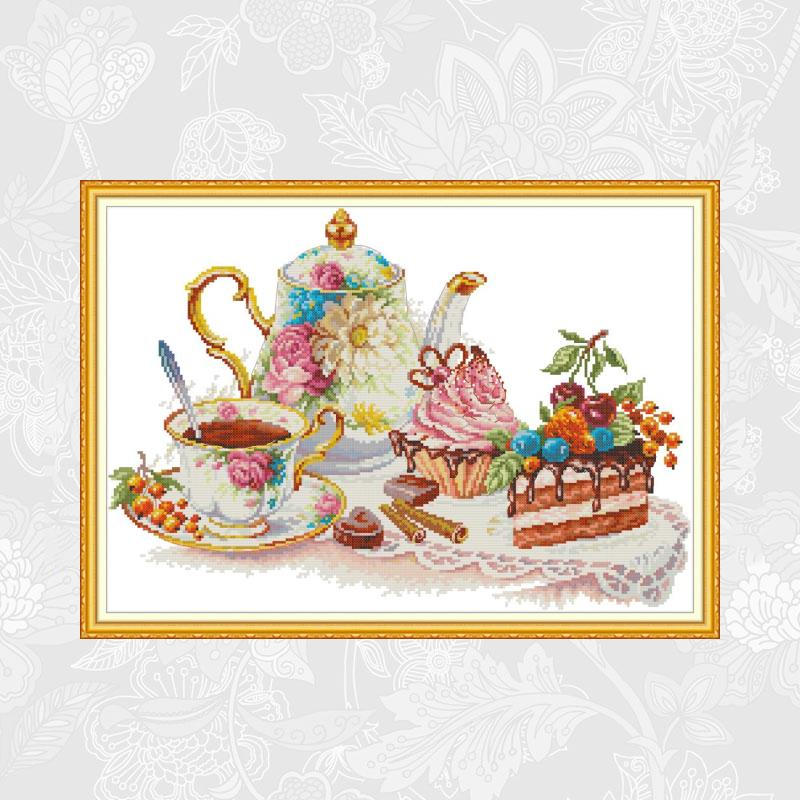 Afternoon Tea Count Cross-Stitch 11CT 14CT Print On Canvas Cross Stitch Kits Handwork Beginner Embroidery Home Decor Needlework