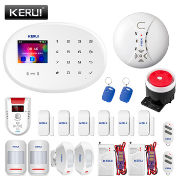 KERUI W20 WIFI GSM Home Security Alarm System Smart Home RFID Card APP Control Motion Detector Burglar Alarm Gas Detector kerui w20 wifi gsm home security alarm system app control tft color screen wireless home burglar alarm kit rfid card arm disarm
