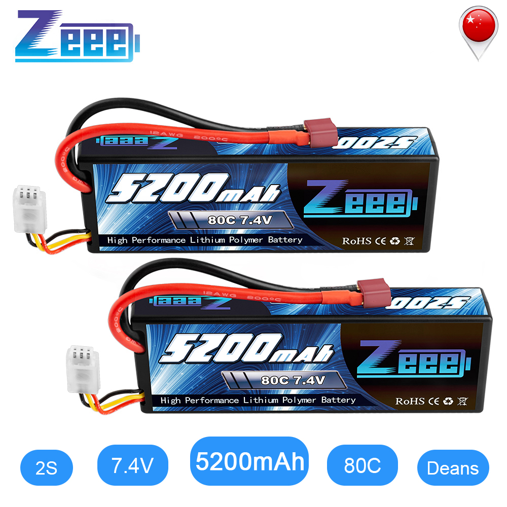 2units Zeee RC Lipo Battery 7.4V 2S 5200mAh 80C With Deans Plug RC Battery For RC Car Truck Truggy Buggy Tank Helicopter