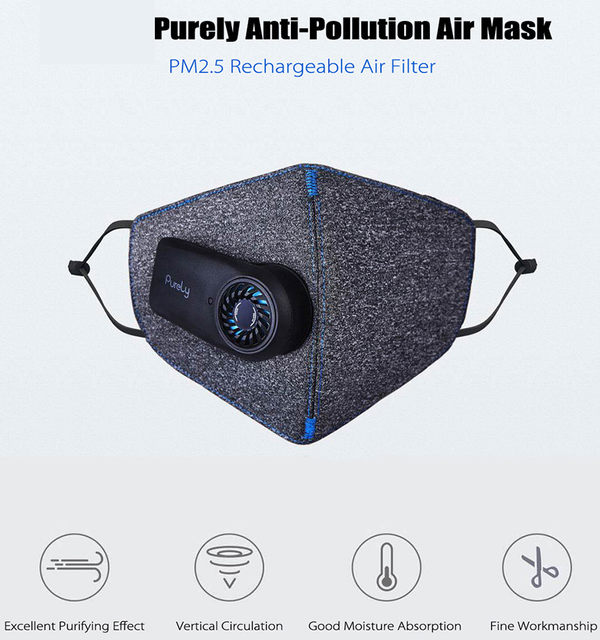 New Original Xiaomi Purely Air Pollution Mouth Face Mask Rechargeable Anti Dust Air Breathing Purifier Mask PM2.5 Filter Mask