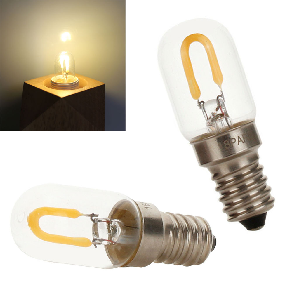 T20 E14 SES LED Filament COB Bulb Vintage Retro Warm White 1W Glass Lamp Replace 10W Halogen Chandelier Lamp Lighting 220V