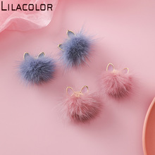 925 Silver Needle New Dropping Oil Cat Ear Hair Ball Earrings Dropping Glaze Sweet and Cute temperament Joker Stud Female