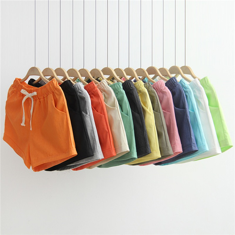 Women's Shorts Candy Color Casual Loose Cotton & Linen Straight Shorts Women Sports Shorts