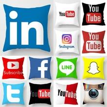 Nueva funda de cojín de Youtube de la marca App, decoración del hogar, Snapchat Instagram, cojines, decoración de Navidad para boda, funda de almohada