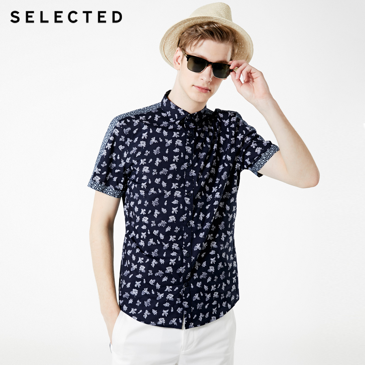 SELECTED Men's 100% Cotton Printed Short-sleeved Shirt S|419204568