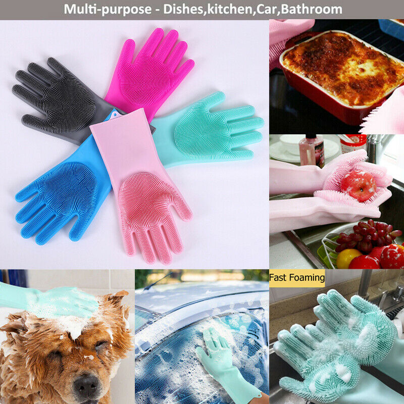 Household Gloves Magic Silicone Dishwashing Scrubber Dish Washing Sponge Rubber Scrub Gloves Kitchen Cleaning 2 In1 Use