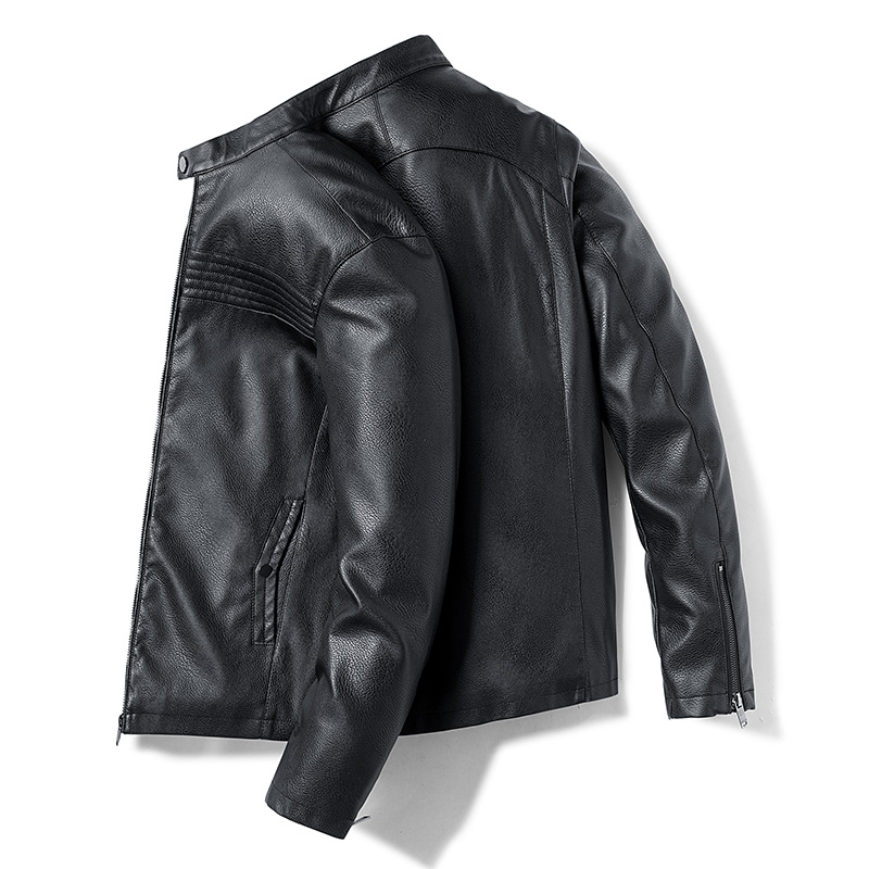 Men/'s Black Short Casual Biker Motorcycle Style Real Leather Jacket 8003