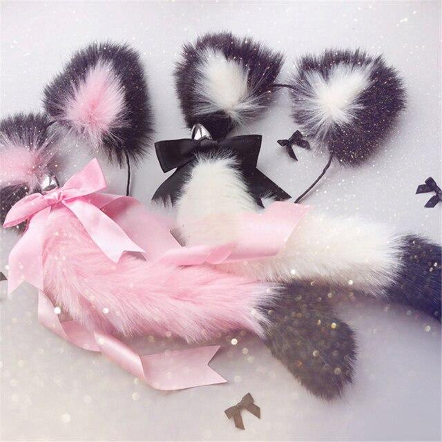Diademas suaves con orejas de gato y lazo de cola de zorro, tapón Anal de Metal, accesorios de Cosplay eróticos, Juguetes sexuales para adultos para parejas