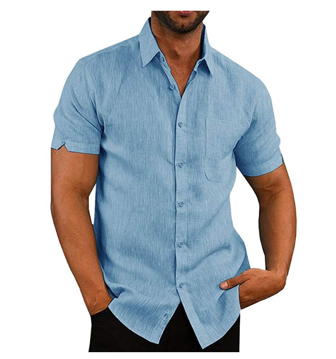 2019 NEW Fashion Men's Summer Casual Dress Shirt Mens Button Down Short Sleeve Linen Shirts Fitness Male Solid Shirts Costume