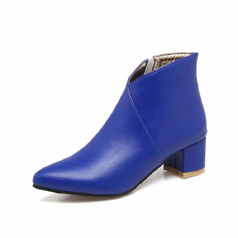 ZawsThia 2019 kış V cut tasarim ucuz moda kırmızı mavi kadın çizmeler sivri burun tıknaz yüksek topuklu kadın yarım çizmeler boyutu 34-44