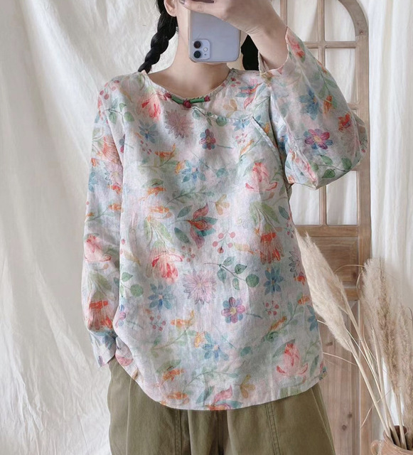 2021 New Blouse Spring Retro Women Pullovers Shirt Tops O-Neck Print Loose Casual Tops Vintage Blouse 3