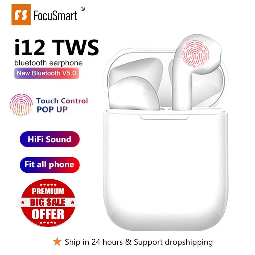 Focusmart original i12 tws fone de ouvido sem fio bluetooth 5.0 toque fones estéreo para iphone xiaomi huawei samsung android telefone