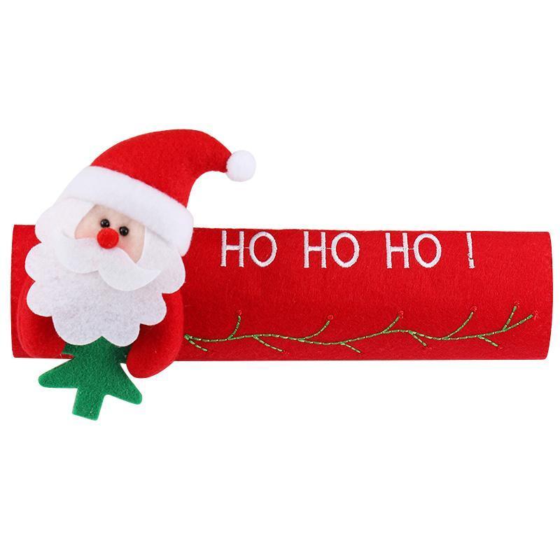 Рождественское украшение на холодильник, дверная ручка, крышка Санта Клауса, снеговика, лося, нетканый материал, для дома, новогодние украшения, подарок - Цвет: Santa Claus