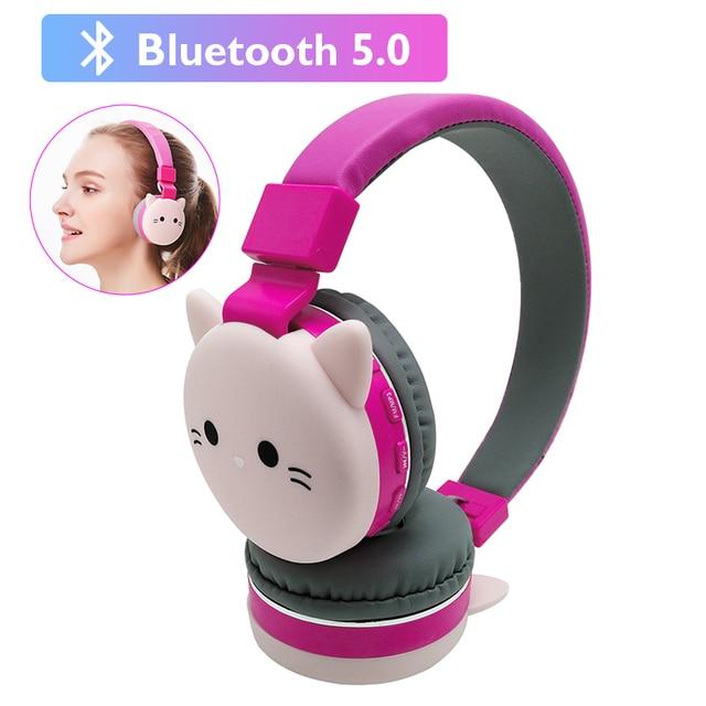 Cute Kids Girl Cartoon Blueooth Headphones 3D Cat Rabbit Animal Wireless Music Helmet Gaming Headset For Moible Phone MP3 PC 1