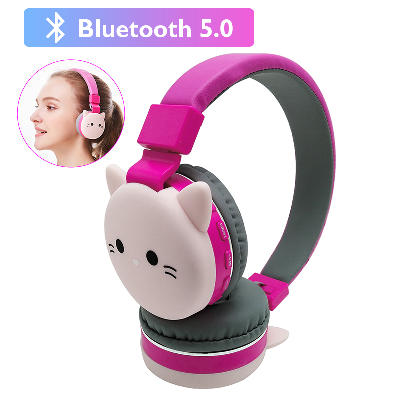 Cute Kids Girl Cartoon Blueooth Headphones 3D Cat Rabbit Animal Wireless Music Helmet Gaming Headset For Moible Phone MP3 PC