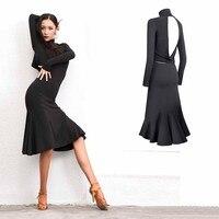 Latin Dance Dress Black Sexy Backless Long Sleeve Rumba Cha Cha Samba Salsa Dresses Women Clothing Adults Practice Wear PY197