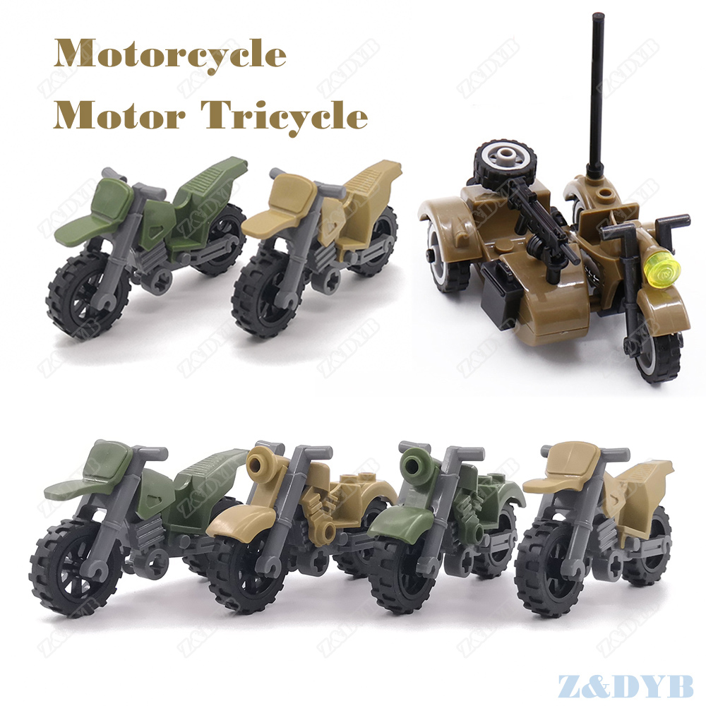 Motorcycle Motor Tricycle Military Accessories Parts DIY Mini Soldier WW2 Figure Playmobil Building Block Brick Toy For Children