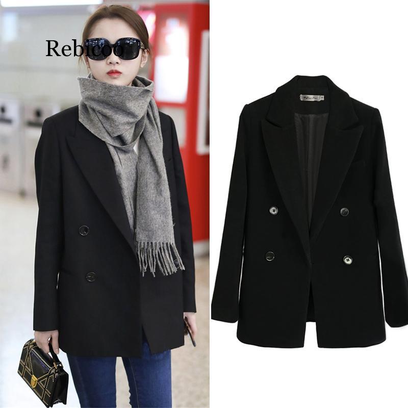 Women's Black Woolen Small Suit Jacket Female Short Paragraph Chic Casual Hepburn Wind Thickening Woolen Suit Autumn And Winter
