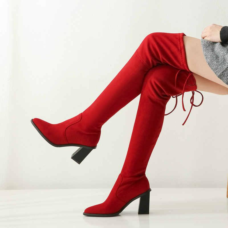 Kırmızı Faux süet uyluk yüksek çizmeler kadın moda streç çizmeler sivri burun tıknaz topuk diz çizmeler üzerinde 2019 bayanlar uzun çizmeler