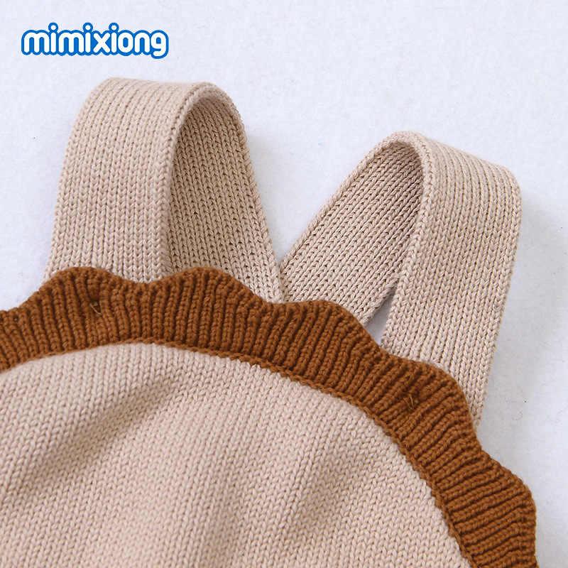 Jesień szydełkowane dla dziecka pajacyki śliczne kombinezony noworodek chłopcy ubrania dziewczynka chłopiec kombinezon bez rękawów Romper 0-24 M ubranko dla dziecka
